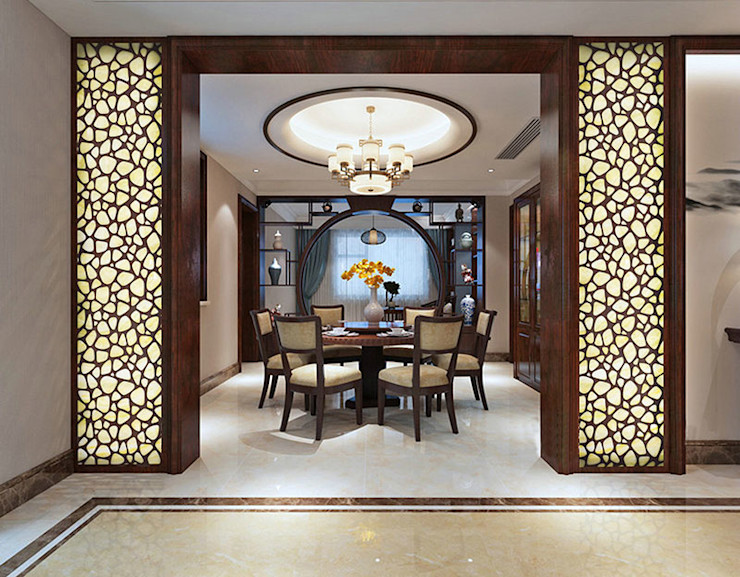 CNC Carving Faux Alabaster in China ShellShock Designs Asian style dining room Stone Multicolored