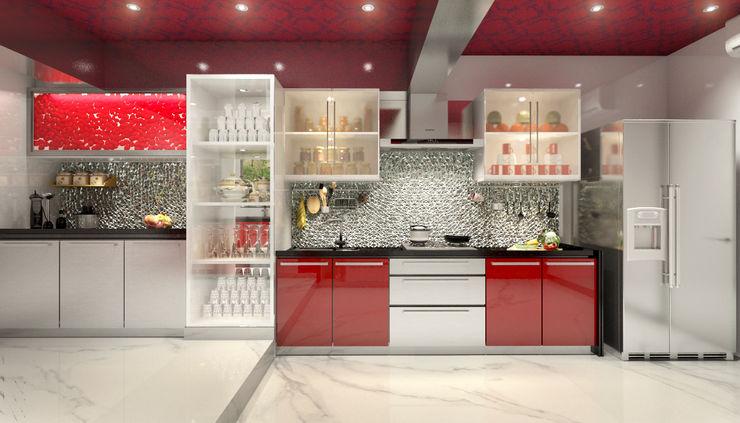 AAMRAPALI BHOGLE Cocinas de estilo clásico Vidrio Rojo