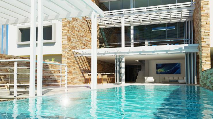entertain Edge Design Studio Architects Minimalist house Stone Blue