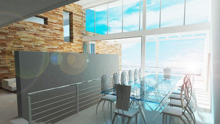 Fine sky dining Edge Design Studio Architects Minimalist dining room Concrete Grey