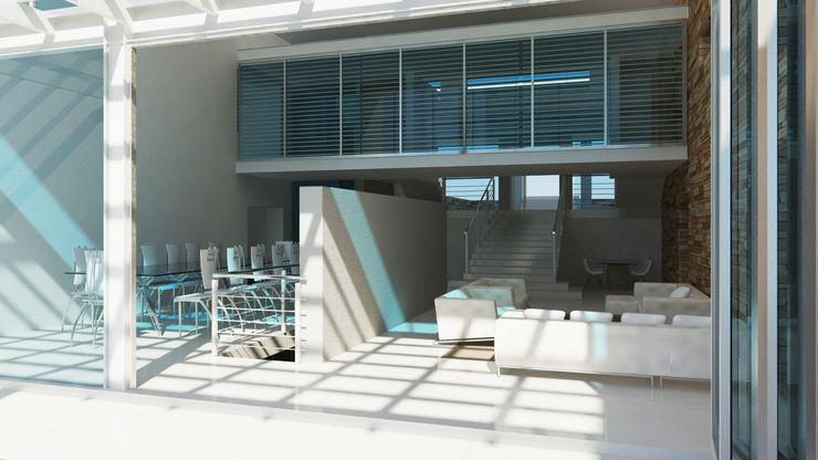 chill Edge Design Studio Architects Living room Reinforced concrete White