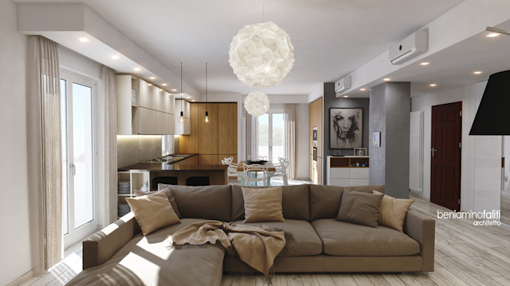 Beniamino Faliti Architetto Modern living room Tiles White