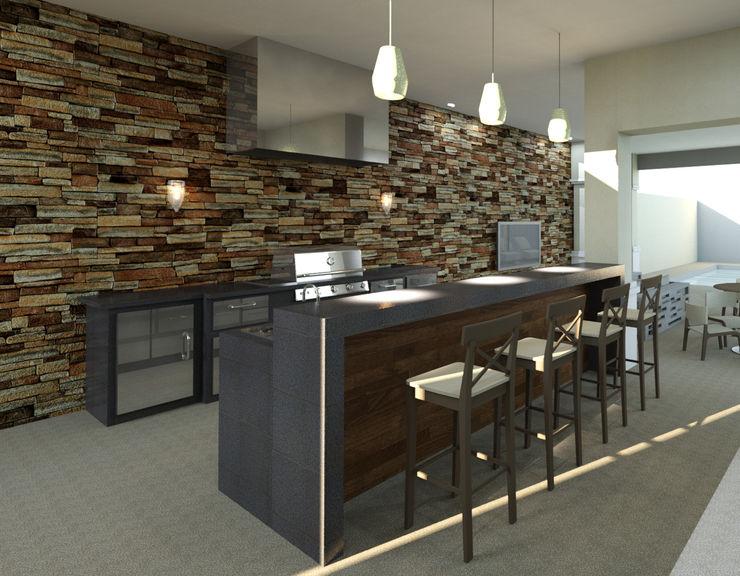 bar homify Balcones y terrazas de estilo moderno Granito Negro