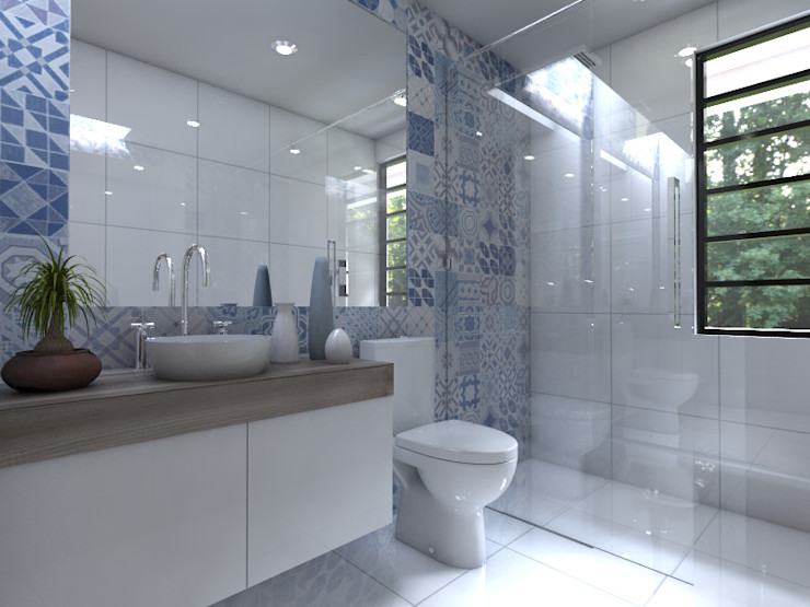 Arqternativa Modern bathroom Bricks White