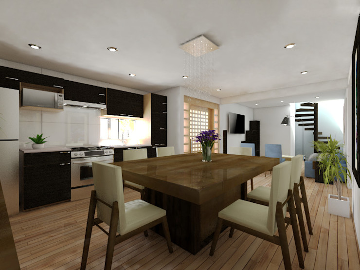 Arqternativa Sala da pranzo moderna Legno Effetto legno