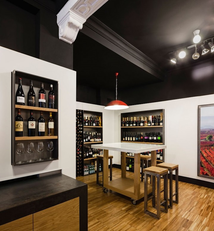 De la tierra (vinoteca) Rufo Iluminación Bodegas de estilo moderno