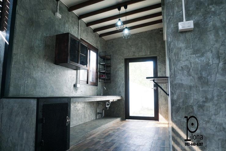 P-lona Cocinas de estilo industrial Concreto