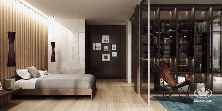 Komandor - Wnętrza z charakterem Moderne slaapkamers Spaanplaat Bruin