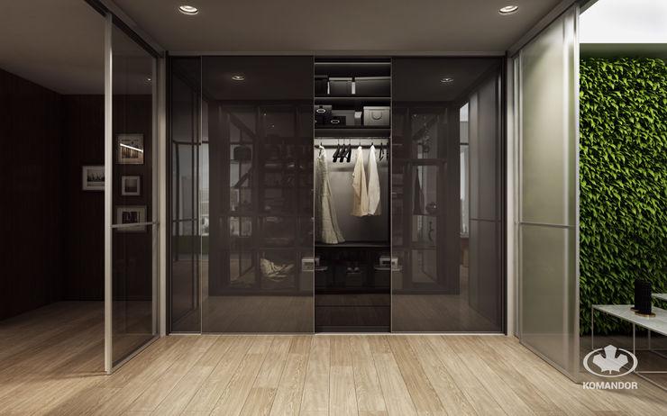 Komandor - Wnętrza z charakterem Moderne kleedkamers Glas Bruin