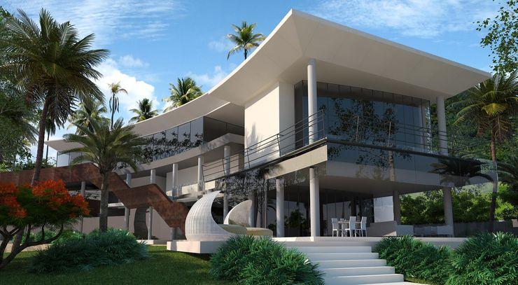 Fachada Vivian Dembo Arquitectura Casas modernas Cobre/Bronce/Latón Blanco