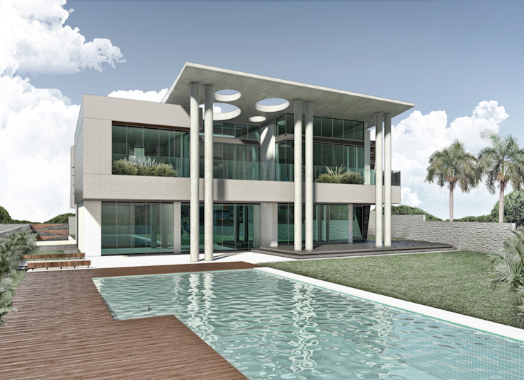 Fachada principal Vivian Dembo Arquitectura Casas modernas Concreto Gris