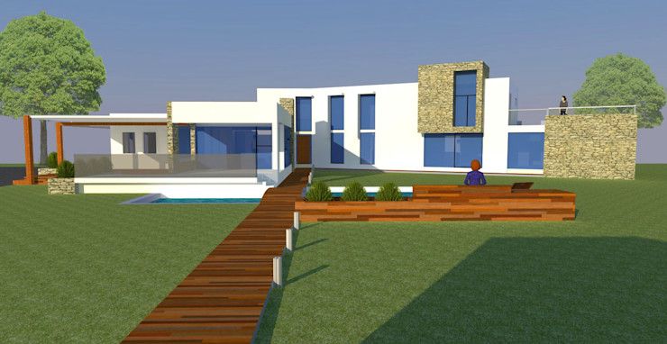 H2H arquitectos Modern Houses Reinforced concrete White
