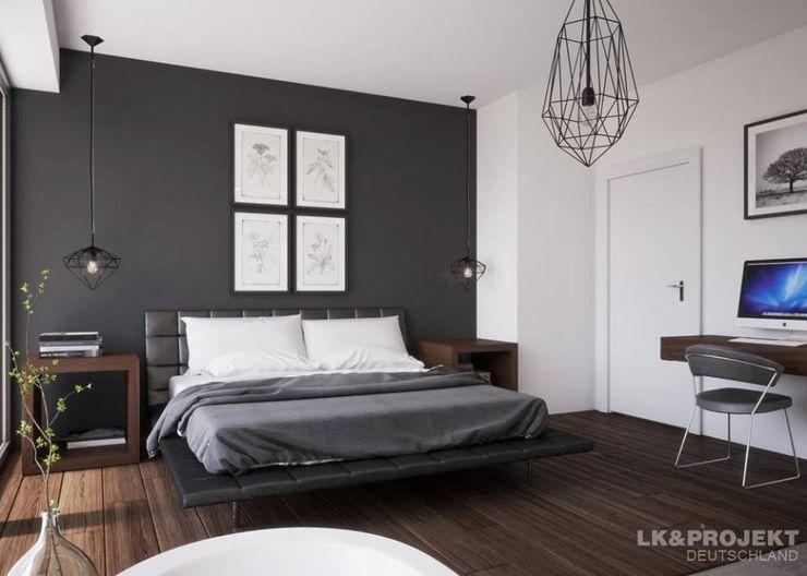 Weiß und Grau für ein cooles Einfamilienhaus. Unser Entwurf LK&1286 LK&Projekt GmbH Moderne Schlafzimmer