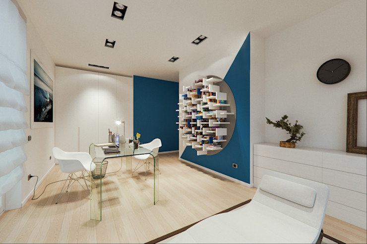 Un attico in stile loft in Milano Annalisa Carli Studio moderno Legno Turchese