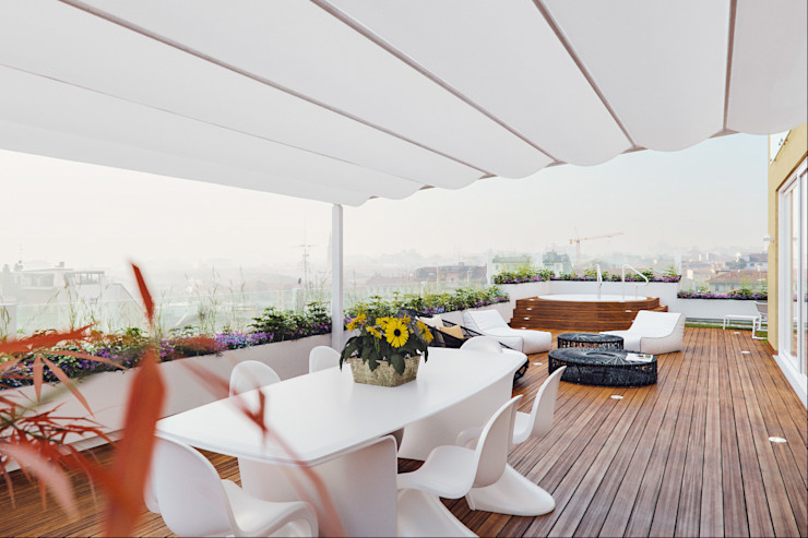 Un attico in stile loft in Milano Annalisa Carli Balcone, Veranda & Terrazza in stile moderno Legno composito Variopinto