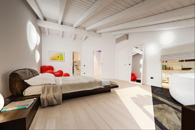 Un attico in stile loft in Milano Annalisa Carli Camera da letto moderna Legno massello Marrone