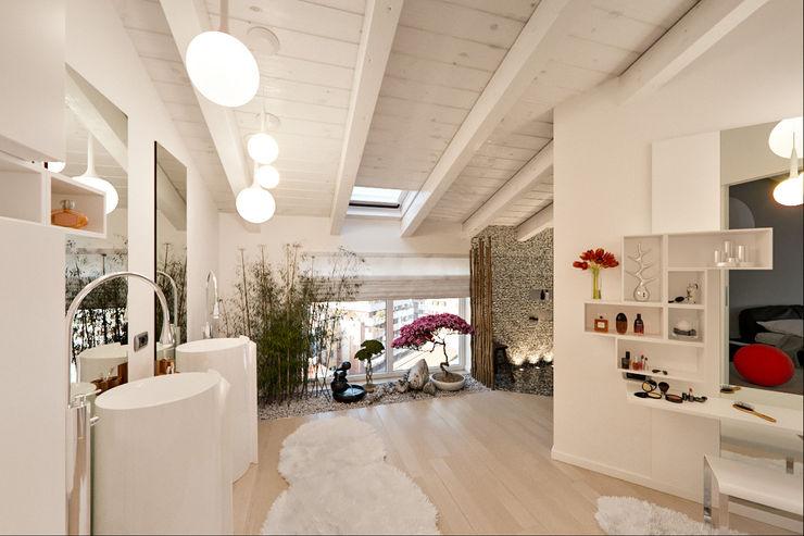 Un attico in stile loft in Milano Annalisa Carli Bagno moderno Legno massello Bianco