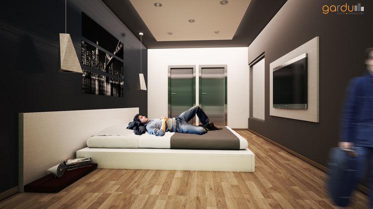Recamara Moderna GarDu Arquitectos Cuartos de estilo minimalista Piedra Negro