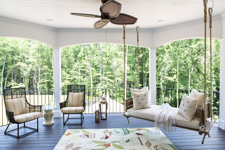 Riverside Retreat - Sun Porch Lorna Gross Interior Design Eclectic style balcony, porch & terrace