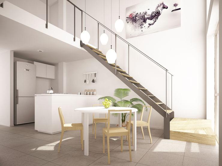 HMJ Arquitectura Sala da pranzo minimalista