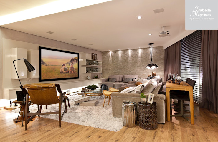 Isabella Magalhães Arquitetura & Interiores Modern style media rooms Grey