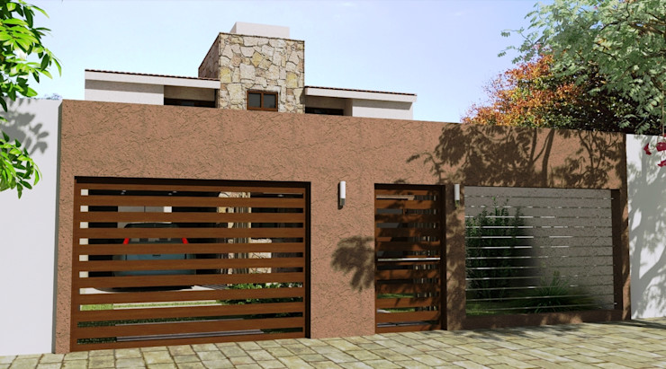 Proyecto de Remodelación y cambio de fachada Valy Casas modernas Ladrillos Marrón