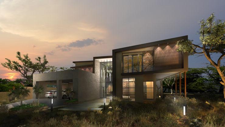 Double Volume Entrance Koen and Associates Architecture 現代房屋設計點子、靈感 & 圖片 玻璃 Multicolored