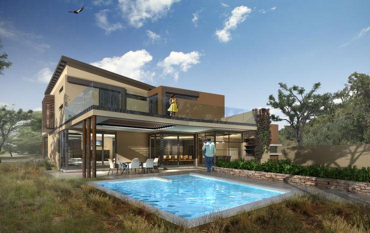 Pool Exterior View Koen and Associates Architecture 現代房屋設計點子、靈感 & 圖片 銅/青銅/黃銅 Multicolored