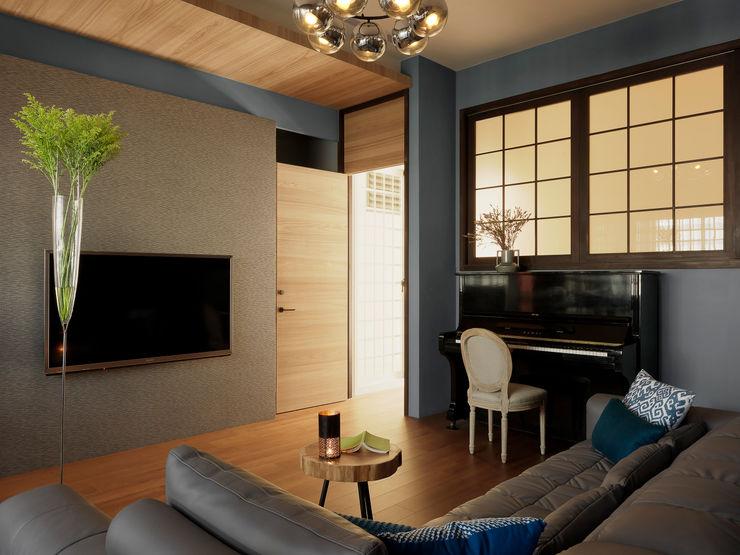 賀澤室內設計 HOZO_interior_design Ruang Keluarga Gaya Eklektik