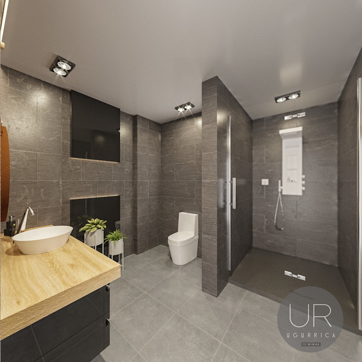 homify Modern Bathroom Ceramic Black