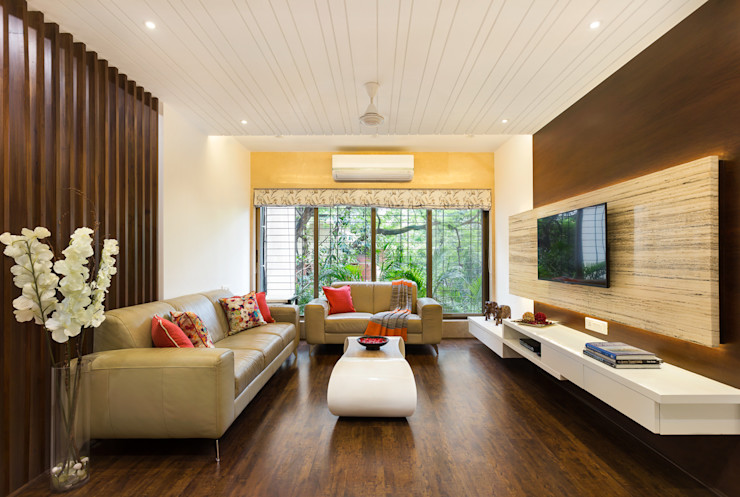 Living Room The design house Modern living room Wood Yellow