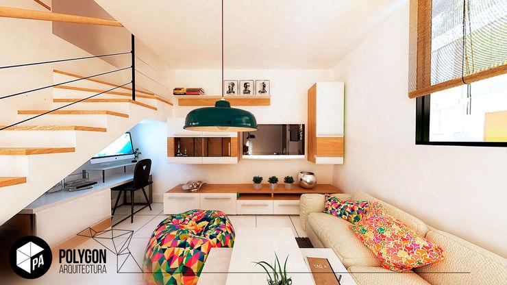 Sala - Ingreso de la casa Polygon Arquitectura Salas modernas