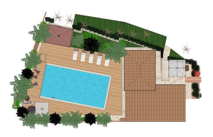Roofing plan view Planet G Piscina in stile mediterraneo