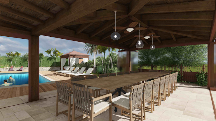 View of the outdoor dining area Planet G Giardino d'inverno in stile mediterraneo