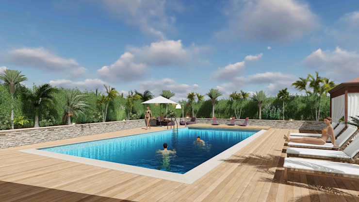 View of the swimming pool area Planet G Piscina in stile mediterraneo