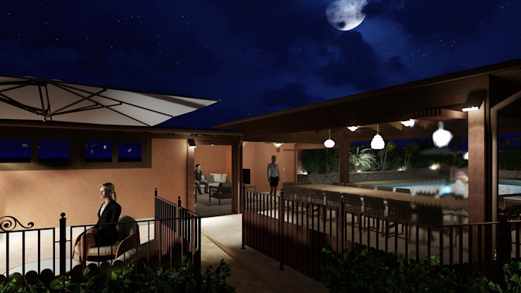 Night view from the pathway to the outdoor dining area Planet G Giardino d'inverno in stile mediterraneo