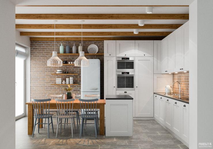 Projekt wnętrz domu jednorodzinnego w Krakowie PRØJEKTYW | Architektura Wnętrz & Design Skandynawska kuchnia