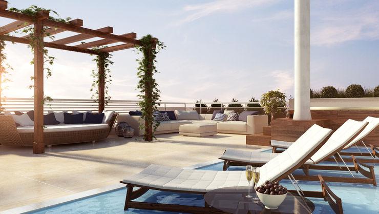 Projetos de Arquitetura Dazen | Creativity Connected Varandas, alpendres e terraços modernos