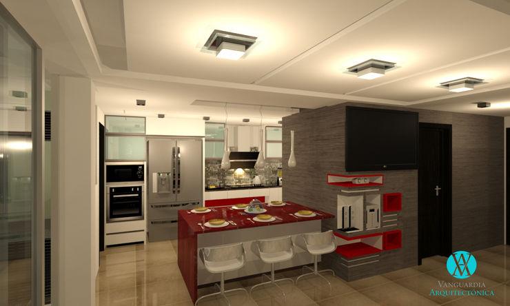 Vanguardia Arquitectónica KitchenCabinets & shelves Engineered Wood Red