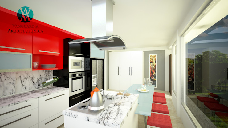 Vanguardia Arquitectónica KitchenStorage Engineered Wood Red
