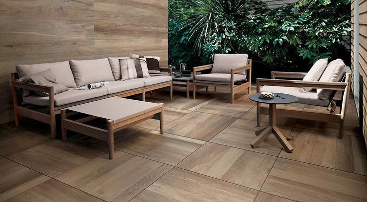 Piotr Wolański APK Dachy Zielone Balcon, Veranda & Terrasse modernes Céramique Effet bois