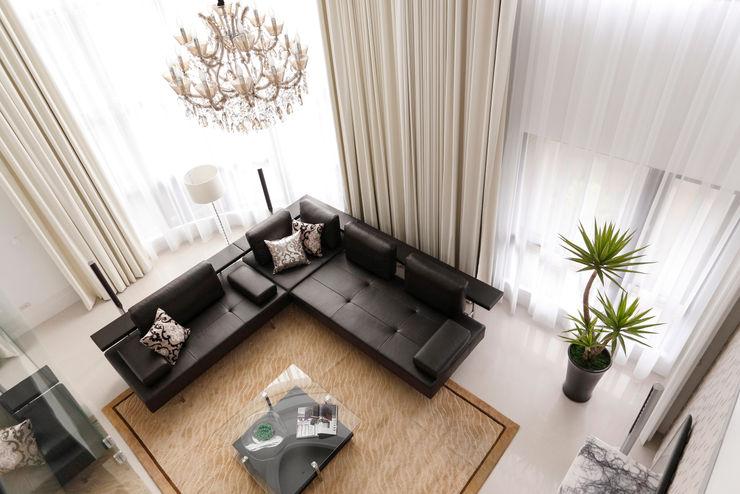 白色的極緻優雅 誼軒室內裝修設計有限公司 客廳
