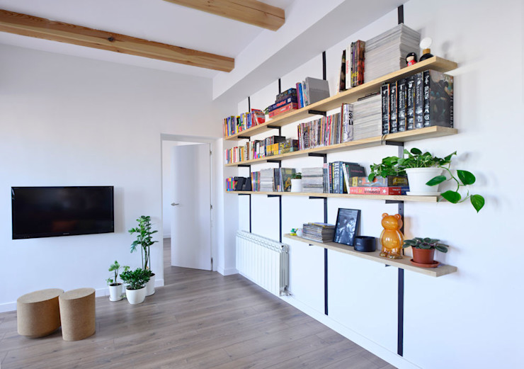 Librería Ondo Interiorismo Salones modernos Madera