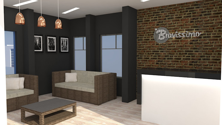H2H arquitectos Modern offices & stores Bricks Black