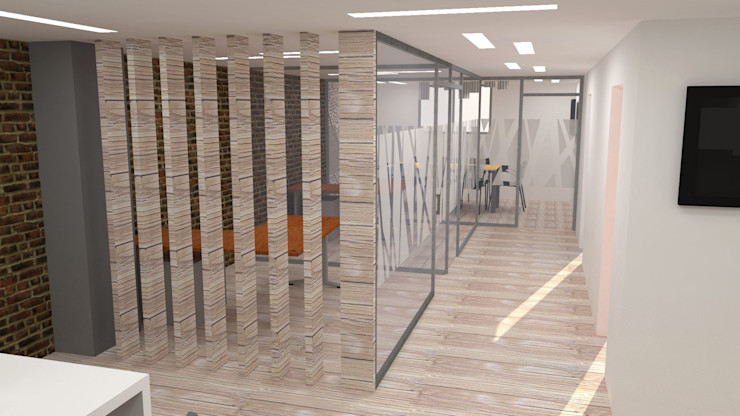 H2H arquitectos Modern offices & stores Wood Wood effect