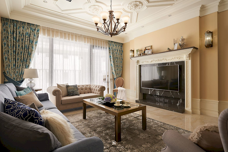 理絲室內設計有限公司 Ris Interior Design Co., Ltd. Living roomFireplaces & accessories Beige