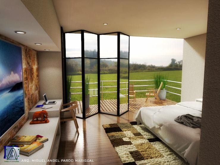 Reconfortante dormitorio con vista hacia la terraza PARMAR Arquitectura Dormitorios modernos Madera Blanco