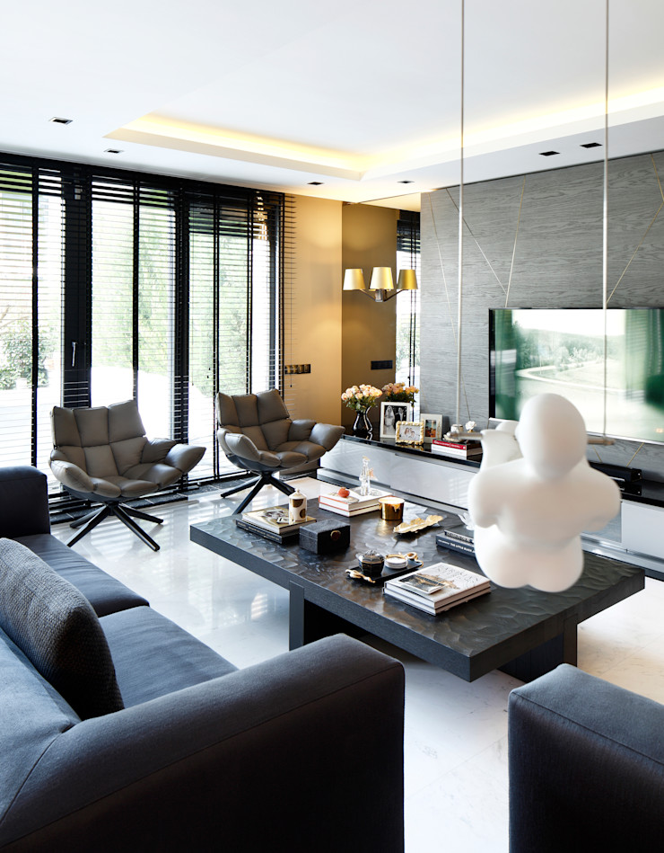ISTINYE HOUSE Esra Kazmirci Mimarlik Modern living room Marble Grey