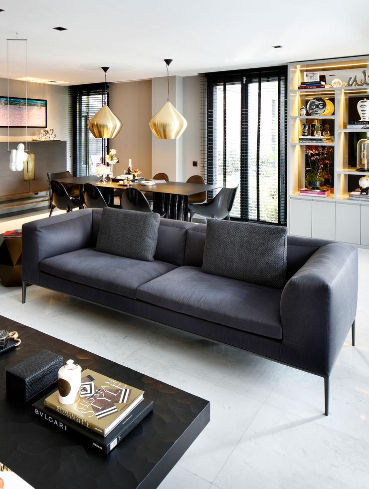 living room Esra Kazmirci Mimarlik Modern living room Marble Grey