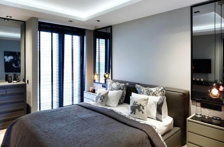 master bedroom Esra Kazmirci Mimarlik Modern style bedroom Grey